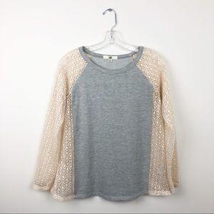 Ya Los Angeles Tunic Sweater Lace Top